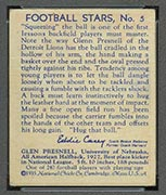 1935 National Chicle #5 Glenn Presnell Detroit Lions - Back