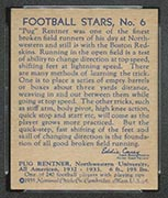 "1935 National Chicle #6 ""Pug"" Rentner Boston Redskins - Back"