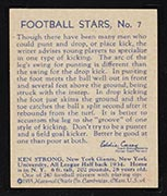 1935 National Chicle #7 Ken Strong New York Giants - Back
