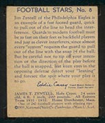 1935 National Chicle #8 Jim Zyntell Philadelphia Eagles - Back