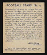 1935 National Chicle #9 Knute Rockne Coach, Notre Dame Fighting Irish - Back