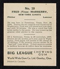 1936 V355 World Wide Gum #10 Fred Marberry New York Giants - Back