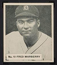 1936 V355 World Wide Gum #10 Fred Marberry New York Giants - Front