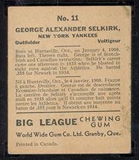 1936 V355 World Wide Gum #11 George Selkirk New York Yankees - Back
