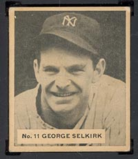 1936 V355 World Wide Gum #11 George Selkirk New York Yankees - Front