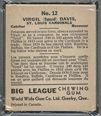 """1936 V355 World Wide Gum #12 """"Spud"""" Davis St. Louis Cardinals - Back"""