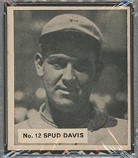 """1936 V355 World Wide Gum #12 """"Spud"""" Davis St. Louis Cardinals - Front"""