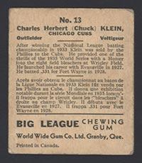 1936 V355 World Wide Gum #13 Chuck Klein Chicago Cubs - Back