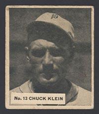 1936 V355 World Wide Gum #13 Chuck Klein Chicago Cubs - Front