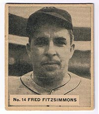 1936 V355 World Wide Gum #14 Fred Fitzsimmons New York Giants - Front