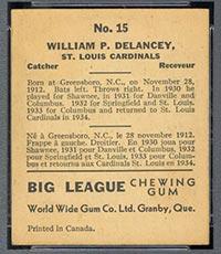 1936 V355 World Wide Gum #15 Bill Delancey St. Louis Cardinals - Back