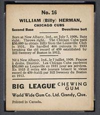 1936 V355 World Wide Gum #16 Billy Herman Chicago Cubs - Back