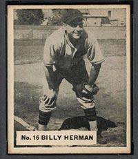 1936 V355 World Wide Gum #16 Billy Herman Chicago Cubs - Front