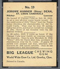 "1936 V355 World Wide Gum #19 ""Dizzy"" Dean St. Louis Cardinals - Back"