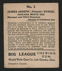 1936 V355 World Wide Gum #1 Jimmy Dykes Chicago White Sox - Back