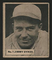 1936 V355 World Wide Gum #1 Jimmy Dykes Chicago White Sox - Front