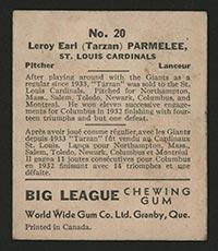 1936 V355 World Wide Gum #20 Roy Parmelee St. Louis Cardinals - Back