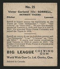 1936 V355 World Wide Gum #21 Vic Sorrell Detroit Tigers - Back