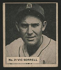 1936 V355 World Wide Gum #21 Vic Sorrell Detroit Tigers - Front