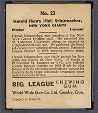1936 V355 World Wide Gum #23 Hal Schumacher New York Giants - Back
