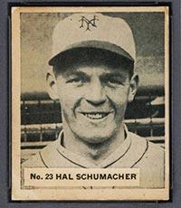 1936 V355 World Wide Gum #23 Hal Schumacher New York Giants - Front
