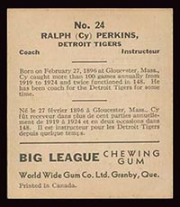 1936 V355 World Wide Gum #24 Cy Perkins Detroit Tigers - Back