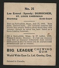 """1936 V355 World Wide Gum #25 """"Speedy"""" Durocher St. Louis Cardinals - Back"""