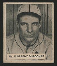 """1936 V355 World Wide Gum #25 """"Speedy"""" Durocher St. Louis Cardinals - Front"""