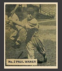 1936 V355 World Wide Gum #2 Paul Waner Pittsburgh Pirates - Front