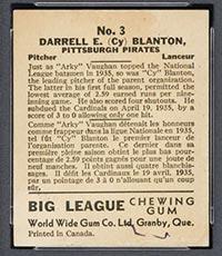 1936 V355 World Wide Gum #3 Cy Blanton Pittsburgh Pirates - Back