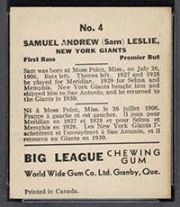 1936 V355 World Wide Gum #4 Sam Leslie New York Giants - Back