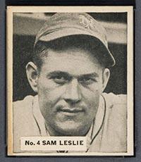 1936 V355 World Wide Gum #4 Sam Leslie New York Giants - Front