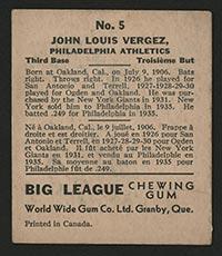 1936 V355 World Wide Gum #5 Johnny Louis Vergez Philadelphia Athletics - Back