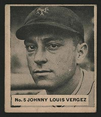 1936 V355 World Wide Gum #5 Johnny Louis Vergez Philadelphia Athletics - Front