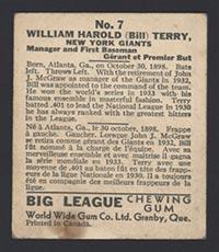 1936 V355 World Wide Gum #7 Bill Terry New York Giants - Back