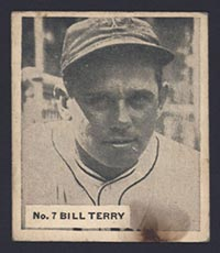 1936 V355 World Wide Gum #7 Bill Terry New York Giants - Front