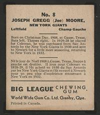 1936 V355 World Wide Gum #8 Joe Moore New York Giants - Back