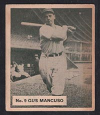 1936 V355 World Wide Gum #9 Gus Mancuso New York Giants - Front