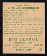 1938 Goudey #241 Charlie Gehringer Detroit Tigers - Back
