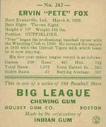 1938 Goudey #242 Ervin Fox Detroit Tigers - Back
