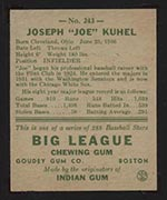1938 Goudey #243 Joe Kuhel Chicago White Sox - Back