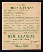 1938 Goudey #245 Frank Pytlak Cleveland Indians - Back