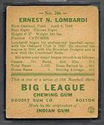1938 Goudey #246 Ernie Lombardi Cincinnati Reds - Back