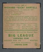 1938 Goudey #248 Dick Bartell New York Giants - Back
