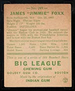 1938 Goudey #249 Jimmy Foxx Boston Red Sox - Back