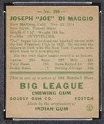 1938 Goudey #250 Joe DiMaggio New York Yankees - Back