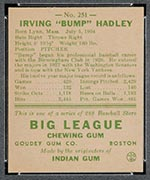 "1938 Goudey #251 ""Bump"" Hadley New York Yankees - Back"