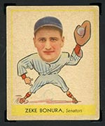 1938 Goudey #252 Zeke Bonura Washington Senators - Front