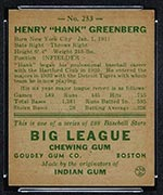 1938 Goudey #253 Hank Greenberg Detroit Tigers - Back