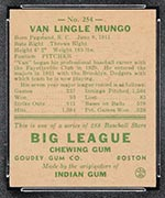 1938 Goudey #254 Van Lingle Mungo Brooklyn Dodgers - Back